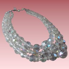 Vintage 3-Strand Crystal Waterfall Necklace