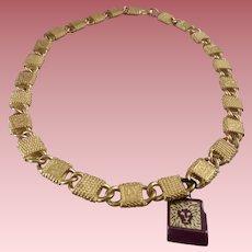 Vintage Anne Klein Collar-Style Necklace - Lion-Head Links & Logo