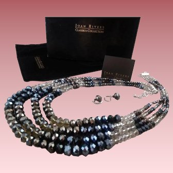 Show-Stopper Joan Rivers 4-Strand Crystal Waterfall Necklace Earring Set ~ Original Packaging / Never Used