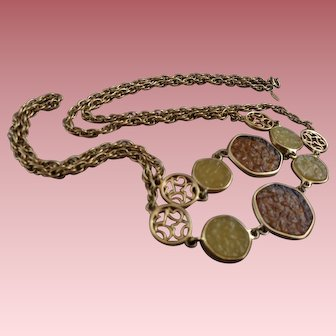 Signed Sarah Coventry Necklace with Translucent & Scrolled Discs