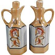 Vintage Oil & Vinegar Cruet Set - Floral Lusterware