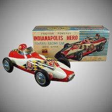 Vintage Ferrari Race Car Toy with Original Box - Indianapolis Hero - Japanese Tin