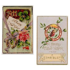 Two Vintage Postcards - New Years Greetings - Early 1900's