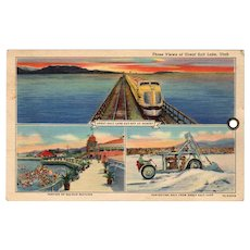 Old Souvenir Postcard with 3 Views of The Great Salt Lake