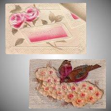 Two Vintage Postcards - Embossed Floral Birthday Greetings