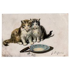 Vintage Postcard - Jules LeRoy - Kittens with Cigar - 1910