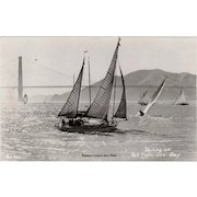 Vintage Photograph Postcard - Sail Boats on San Francisco Bay