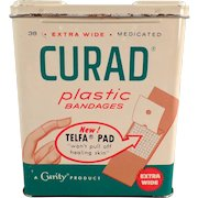 Vintage Band-aid Tin - Curad Plastic Bandages Tin - 1960 - Nice Graphics