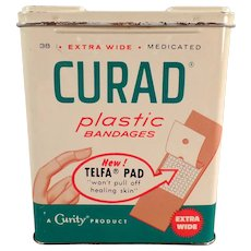 Vintage Band-aid Tin - Curad Plastic Bandages Tin - 1960 - Nice Graphics