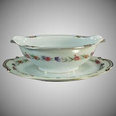 Vintage Sango China Gravy Boat with Attached Drip Tray - Occupied Japan China