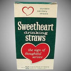 Box of Vintage Sweetheart Paper Straws - Large Box of Thin Straws