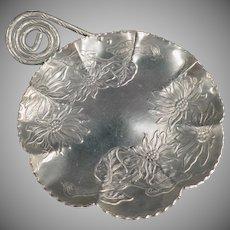 Vintage Aluminum Serving Tray - Farber & Shlevin - Hammered Floral Design