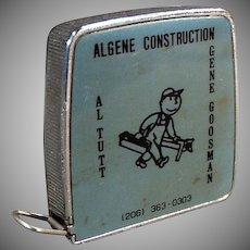 Vintage Steel Tape Measure - 1/4 & 1/8 Scale - Algene Construction Company Advertising