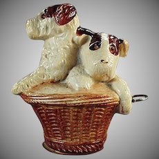 Vintage Celluloid Tape Measure - Terrier Puppies - Dogs in a Basket