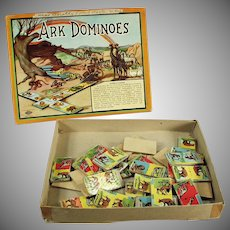 Vintage Dominoes Game - Ark Dominoes with Original Box and Great Animal Graphics