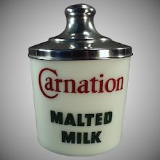Vintage Carnation Malt Canister - Milk Glass with Aluminum Lid