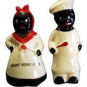 Vintage Black Memorabilia Salt & Pepper Set - Mammy & Chef - Virginia Souvenir