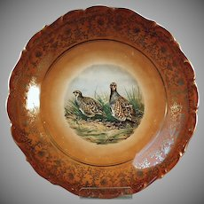 Vintage Bavarian Charger - Quail Design and Gold Trim Plate - Schumann, Germany