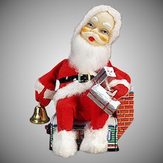 Vintage Battery Operated Toy - Santa Claus on a House with Original Box