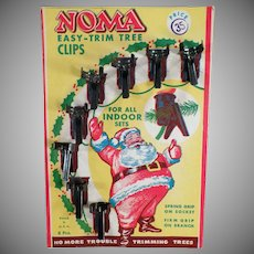 Vintage Noma Christmas Tree Light Clips with Santa - Original Packaging