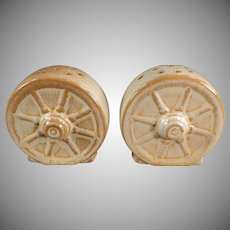 Vintage Frankoma Salt & Pepper Set - Wagon Wheel Pattern - Desert Gold Glaze on Ada Clay