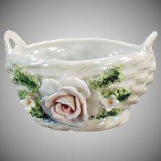 Vintage Porcelain Basket with Applied Rose and Flowers - German