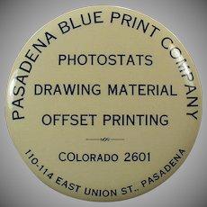 Vintage Celluloid Mirror Paperweight Advertising Pasadena Blue Print