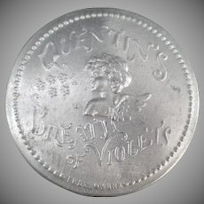 Vintage Advertising Tin - Quentin's Breath of Violets with Cherub Design in Aluminum