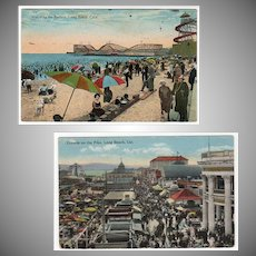 Two Vintage Postcards -  Long Beach, California Souvenirs including The Pike