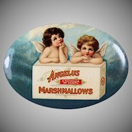 Vintage Celluloid Pocket Mirror - Angelus Marshmallows Advertising with two Angels