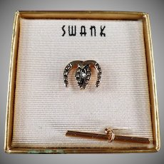Vintage Swank Tie Clip - Double Horseshoes with Original Box