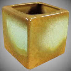 Vintage Frankoma Cube Vase - Mid Century Decorating Accent