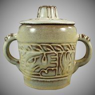 Vintage Frankoma Pottery - Covered Sugar - Mayan Aztec Pattern