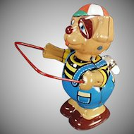 Vintage Wind Up Skip Rope Dog - Very Colorful Tin Toy