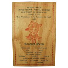 1927 Boy Scout Banquet - Vintage Menu and Program - Nice Image
