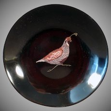 Vintage Couroc Bowl - Quail Graphics - Mid-Century Decor