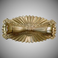 Vintage 2 Bulb, Flush Mount Light Fixture - Deco Styled Brass