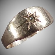 Baby's Vintage Ring - Silver Colored with Small Star Design