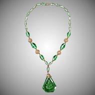 Vintage Czech Glass Necklace with Intaglio Pendant