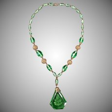 Vintage Czech Glass Necklace with Intaglio Pendant