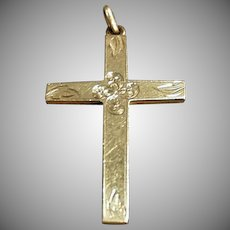 Vintage Cross Pendant - Rolled Gold with Delicate Detailing