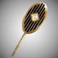 Striking Vintage Stickpin with Faux Pearl and Enamel Stripes
