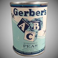 Vintage Tin Advertising Bank - Gerber  ABC Baby Food Tin - Strained Peas