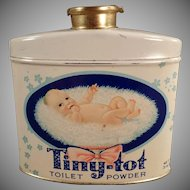 Vintage Talc Tin - Tiny Tot Toilet Powder with Cute Baby