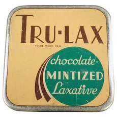 Vintage Laxative Tin - Tru-Lax Chocolate Mintized Laxative