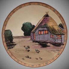Vintage Nippon Hanging Plaque – Rustic Cottage and Chickens