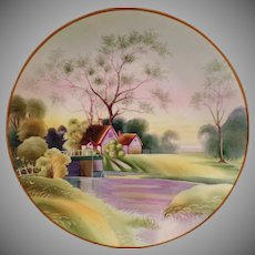Vintage Nippon Hanging Plate – Beautiful Lavender and Green Scene