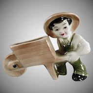 Vintage Pottery Planter - Farmer Boy with Wheelbarrow - Ohio Pottery