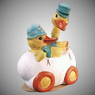 Vintage Easter Candy Container - Two Ducks in an Egg Car - Germany