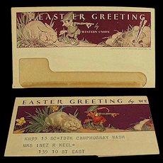 Vintage Western Union Telegram - Norman Rockwell Easter Design